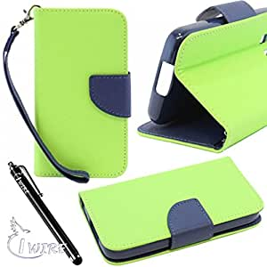 iWIRE® Neon Green & Dark Blue Two-Tone Wallet Leather Phone Case with Stand for Nokia Lumia 635 / 630 + iWIRE® Touch Screen Pen