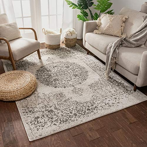 Well Woven Francesca Medallion Ivory Distressed Traditional Vintage Persian Floral Oriental Area Rug 9×13 9 3 x 12 6 Carpet