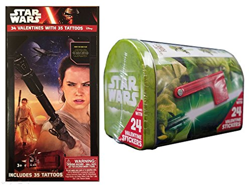 Star Wars Valentine Cards (Box of 34 Cards with Tattoos) and Yoda Mailbox Bundle