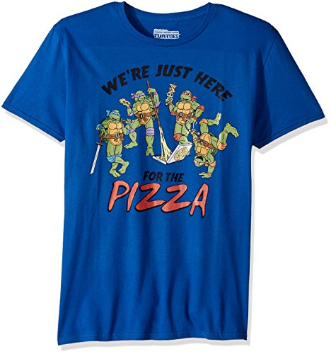 Ninja Turtles Pizza (Teenage Mutant Ninja Turtles Men's TMNT Short Sleeve Graphic T-Shirt, Pizza Royal Blue, S)