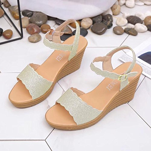 Lolittas Glitter Sequin Wedge Sandals Women, Rose High Heel Platform Ankle Strappy Open Toe Wide Fit Slingback Cushioned Beach Pantshoes Size 2-7 Gold