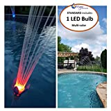 Pool Fountain, Magic Pool Fountain. Water Powered! No Batteries, Solar or Power Cords Needed. Installs in Seconds with no Tools Required. Multi Coloured LED Magic Bulb included. Bulbs Last for 2000 Hours.