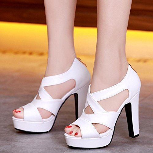 Shoes RizaBina Block Heel 520 Women Toe High Gladiator Peep Platform Elegant White Sandals av1fwax