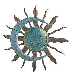 """Indoor Outdoor Recycled Metal Celestial Moon and Sun Wall Art Sculpture, 28"""" Diameter x 1.25"""" D"""
