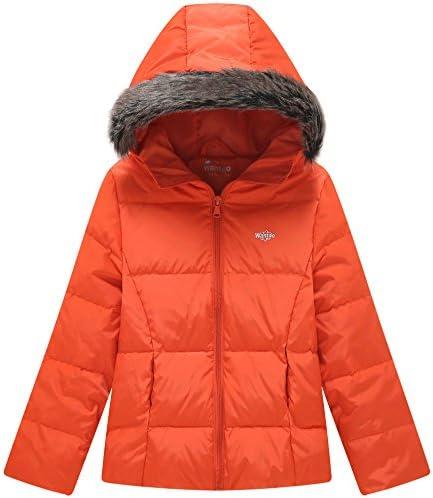 Wantdo Girls Down Jacket Lightweight Winter Coat with Faux Fur Collar Hooded Puffer Jacket
