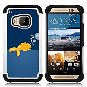 BullDog Case - FOR/HTC ONE M9 / - / Funny Sleeping Goldfish /- H??brido Heavy Duty caja del tel??fono protector din??mico - silicona suave