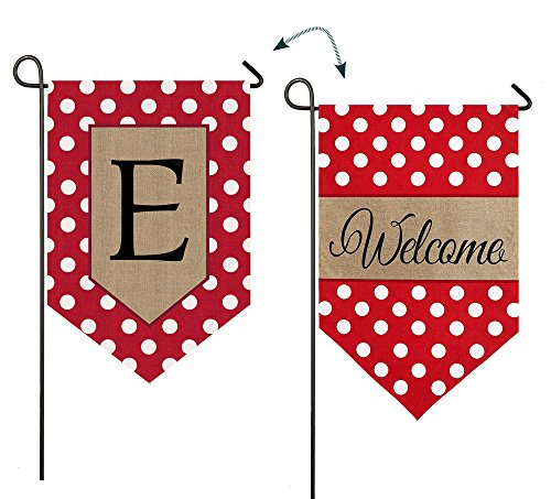 - Evergreen Enterprises 14B3477EFB Polka-Dot Welcome Monogram Garden Flag Letter: E