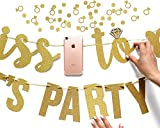 Miss to Mrs + Lets Party Bitches Banner Set - Bachelorette, Engagement or Wedding Party Decorations - 2 Sparkly Gold Banners & Super Fun Diamond Ring & Circle Confetti