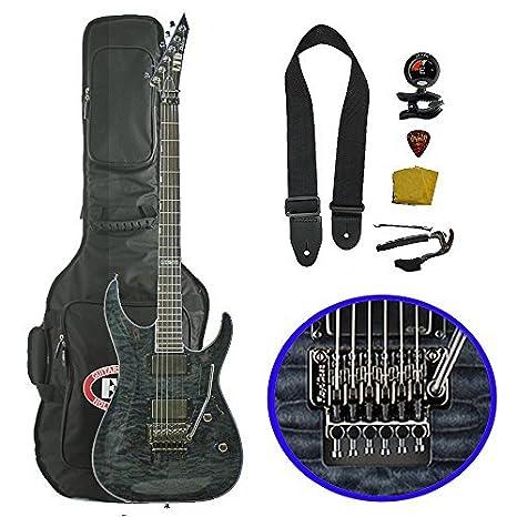 esp-ltd MH-1001 fr MW EMG Metalworks guitarra eléctrica (con funda), See-Thru negro: Amazon.es: Instrumentos musicales
