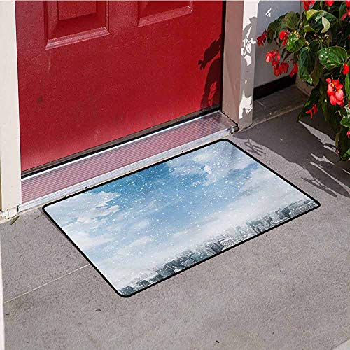 Jinguizi Winter Inlet Outdoor Door mat Snow Falling Down on New York City Urban Life Skyscrapers Streets Cold Weather Catch dust Snow and mud W47.2 x L60 Inch Blue Grey White ()