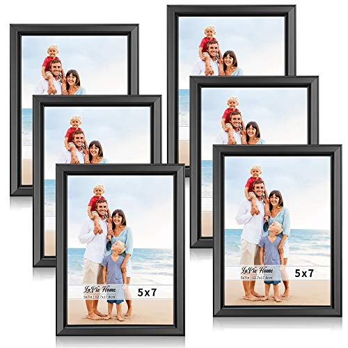 LaVie Home 5x7 Picture Frames (6 Pack, Black) Simple Designed Photo Frame with High Definition Glass for Wall Mount & Table Top Display, Set of 6 Classic ()