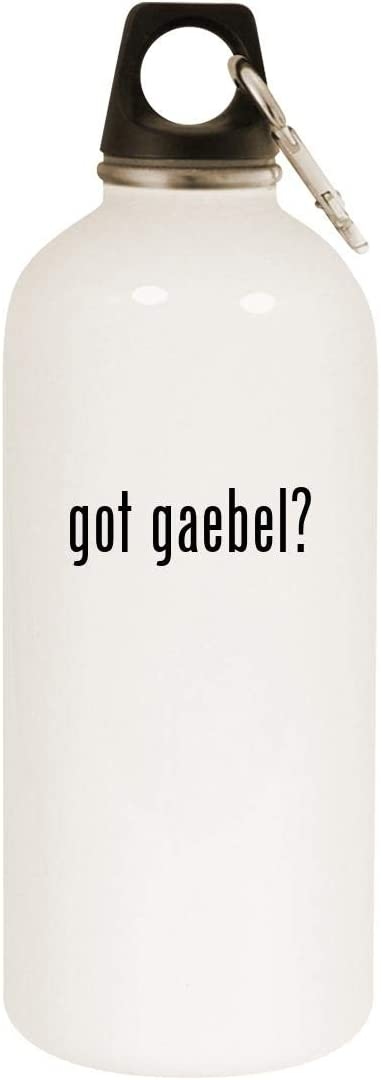 got gaebel? - 20oz Stainless Steel White Water Bottle with Carabiner, White