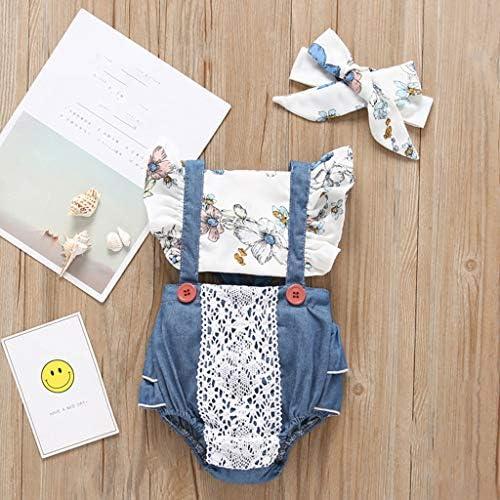 Headband Outfit Infant Bodysuit Toddler Girls Suspenders Skirt Set Sunflower Romper Fyhuzp Newborn Baby Romper