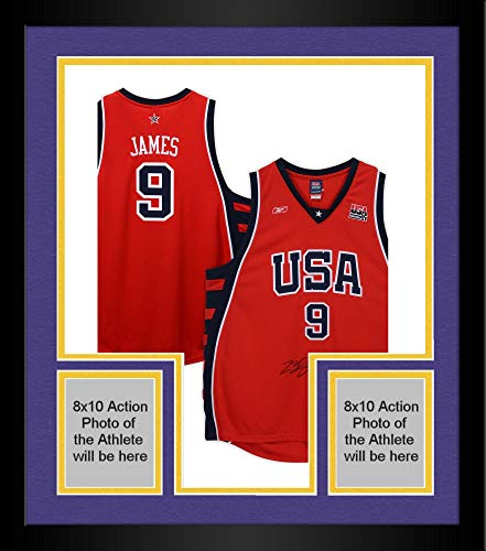 (Framed LeBron James Team USA Autographed Red Reebok Authentic Jersey - Limited Edition of 123 - JSA Certified)