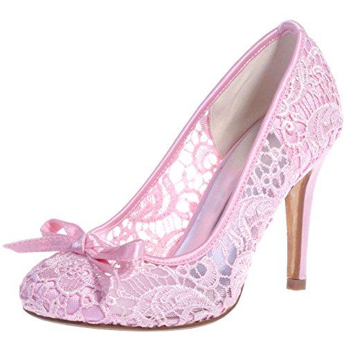 Loslandifen Womens Pionted Toe Lace Bow Stiletto Tacco Alto Scarpe Da Sposa Da Sposa Rosa