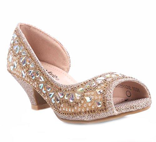 Bella Marie Fashion Truly-8 Rhinestones Kids Peep Toe Slip On Girls Kitten Heels Sandals Dress Shoes,Champagne,12
