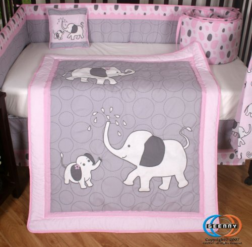 pink and gray elephant 13 piece crib bedding set. Black Bedroom Furniture Sets. Home Design Ideas