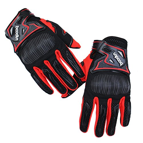 Wincom Dishman Motorcycle Gloves Motorcycle Gloves Full Finger Knight Riding Motorcross Sports Gloves Cycling Washable M L XL - (Size: L, Color: Black & Red)