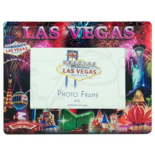 Las Vegas STRIP WITH FIREWORKS GLASS PICTURE FRAME (HOLDS ONE 4 X 6 LANDSCAPE/HORIZONTAL PHOTO)
