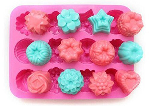 niceeshop(TM) 12 Cavity Flowers Silicone Non Stick Cake Bread Mold Chocolate Jelly Candy Baking Mould+Free niceEshop Cable Tie