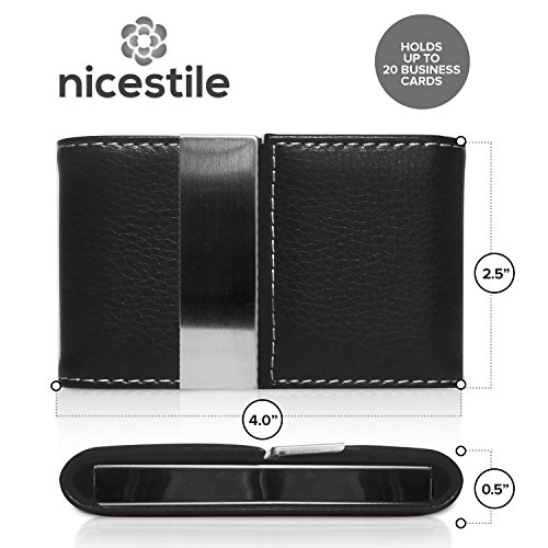 NICESTILE Business Card Holder, PU Leather Stainless Steel Name Card Case Holder with Magnetic Shut Double Sided Open (Black) by NICESTILE (Image #2)