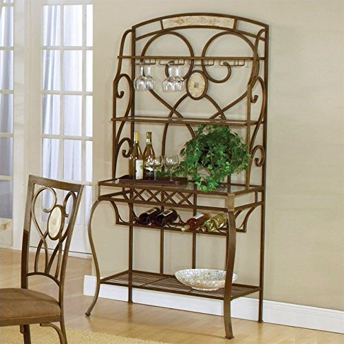 Hillsdale Brookside Baker's Rack, Brown with Fossil Stone by Hillsdale