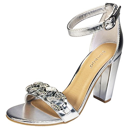 - BAMBOO Women's Chain Ornament Single Band Chunky Heel Sandal with Ankle Strap, Silver PU, 10.0 B US
