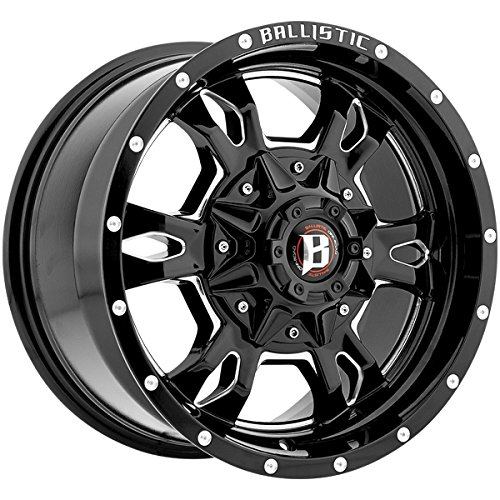 "20"" Inch Ballistic 957 Mace 20x9 6x139.7  +15mm Black/Milled"