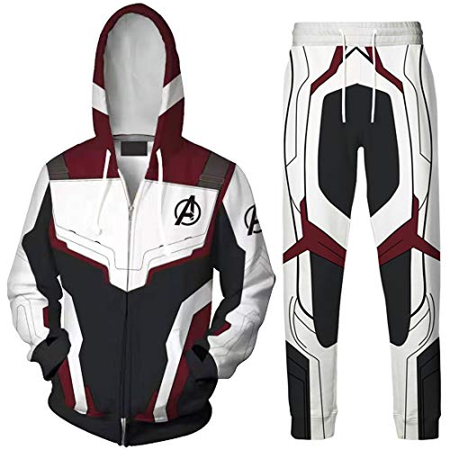 EMILYLE Men Avengers Suits Endgame Superhero Cosplay Hoodie Quantum Realm Suit(XL,Wine Zip-1)