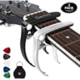 Ukulele Capo Guitar Capo for Acoustic and Electric Guitar,Mandolin or Bass,Aluminum Metal Universal acoustic guitar Capo 1.1 oz (2 Pack)-Black and Silver Capo with Free 5 Guitar Picks&Polishing cloth