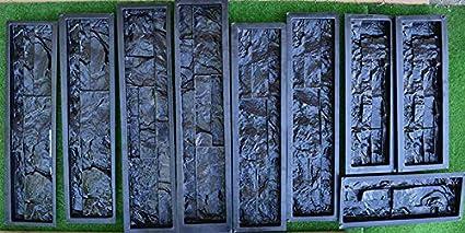 9 moldes de plástico para hormigón yeso pared piedra azulejos de cemento molde ABS # W02: Amazon.es: Hogar