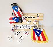 Beautiful Puerto Rico Dominoes Set with Puerto Rico Style Flag, Fun for The Whole Family or with Friends, Boricua Boxing Glo