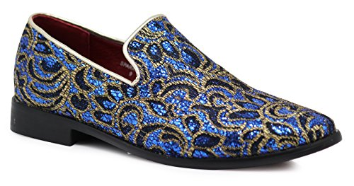 Enzo Romeo SPK05 Men's Vintage Satin Silky Floral Print Embroidery Dress Loafers Slip On Shoes Classic Tuxedo Dress Shoes (10.5 D(M) US, Royal Blue) (Blue Loafers)