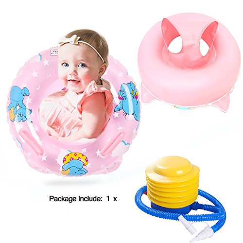 2 Colors Animals Baby Float Inflatable Swimming Bath Pool Ring, Toddler Pre-school Learning Tools Swim Ring Baby Toys(1PC,Pink)