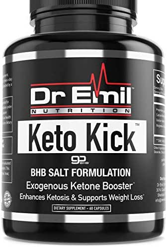 Dr. Emil Keto Kick - Exogenous Ketones with Patented BHB Salt Complex - Keto Weight Loss Pills for Ketosis, Appetite Control and Fat Burn for Energy (60 capsules)