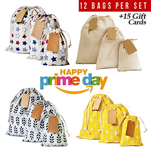 Erimova - Drawstring bag 12pcs + 15 removable tags, reusable produce bags, snack cloth bags, drawstring gift bags, canvas bag for Birthday, Wedding, Baby Shower, Arts, Crafts. 1st Ed.  ()