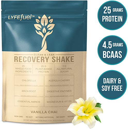 LYFE Fuel Post Workout Recovery Shake   Keto, Vegan & Gluten Free, Plant Based Superfood Protein Mix   Vanilla Chai   25g of Protein   Soy and Dairy Free   2 LB Bag
