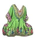 Mogul Interior Womens Kaftan Tribal Print Green Lounge Caftan Dress One Size