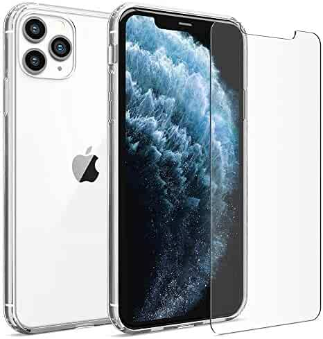 FlexGear Clear Case for iPhone 11 Pro MAX and 2 Glass Screen Protectors (Clear)