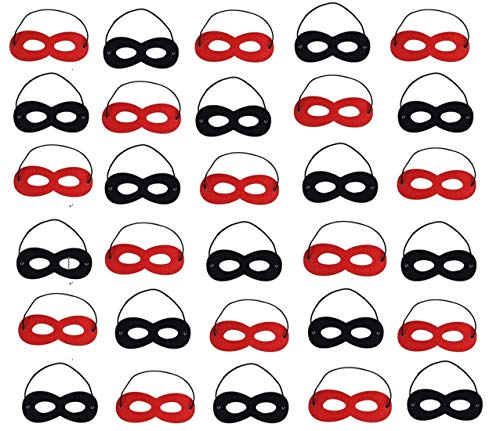 TECH-P Creative Life 30 Pcs Halloween Mask Cosplay Party Eye Masks Felt Masks with Elastic Rope for Kids Party, Black and Red]()