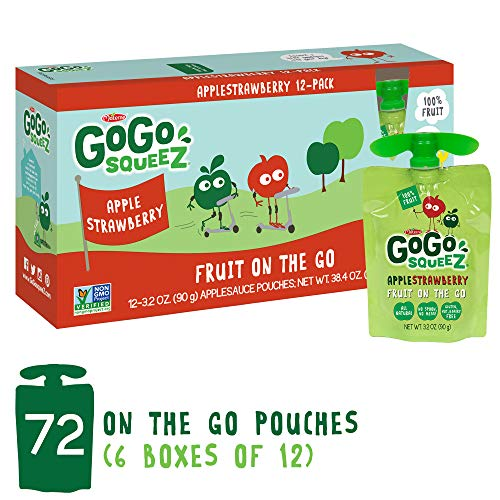 - GoGo squeeZ Applesauce on the Go, Apple Strawberry, 3.2 Ounce (72 Pouches), Gluten Free, Vegan Friendly, Healthy Snacks, Unsweetened Applesauce, Recloseable, BPA Free Pouches