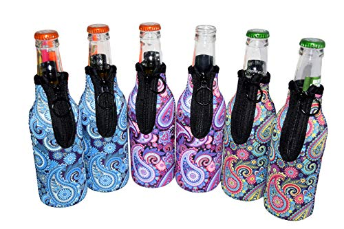 - QualityPerfection 6 Beer Bottle Cooler Sleeves - Extra Thick Neoprene,Stitched Fabric Edges Great 4 Parties,Holiday,Events (Paisley, 6)
