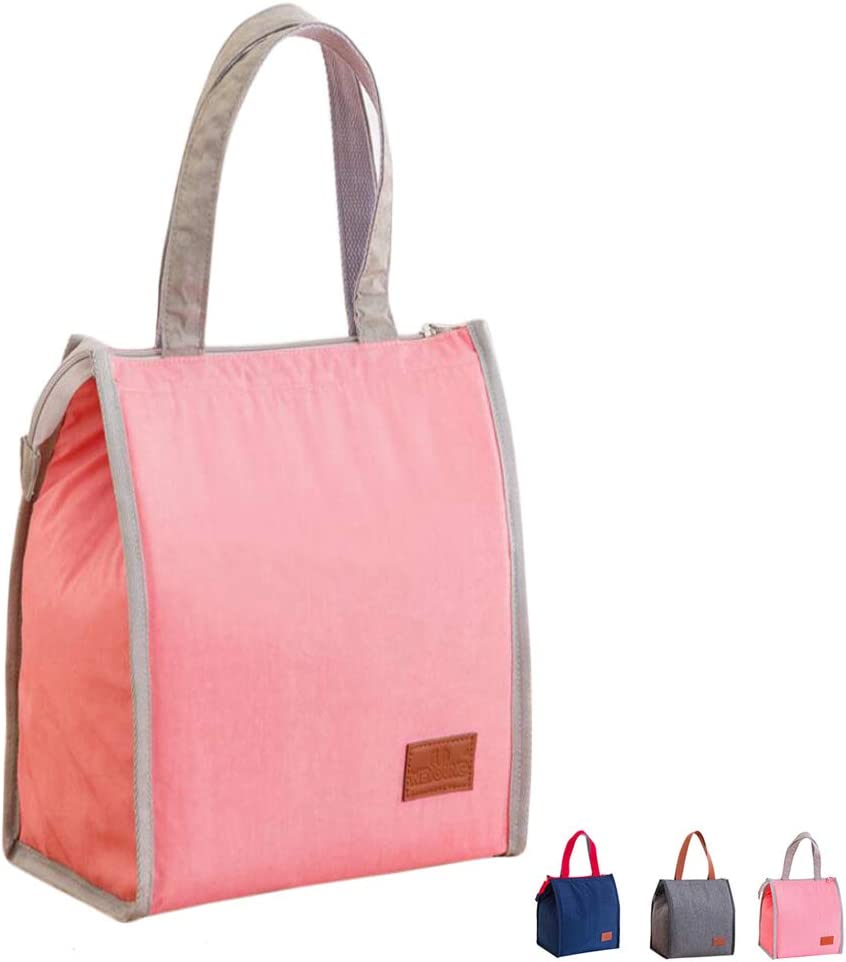 Insulated Tote Lunch Bag Lunch Box Cool Bag with Tote Handle for Women Girls Office Picnic Foldable Spacious Space (Pink)