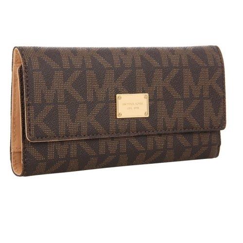 Michael Kors Vanilla PVC Checkbook Wallet - Cover Signature Checkbook