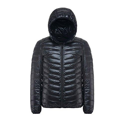Down Jacket,4YANG Men's Hoody Winter Coats Male Hooded Jackets Teenager Slim Fit Windbreaker Down Jacket Black Size (Helium Buffalo)