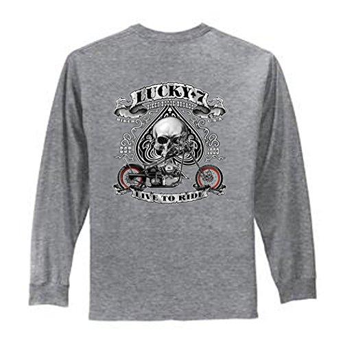 Biker Lucky 7 Live To Ride Men's Long Sleeve T-Shirt (S, Sport Gray)