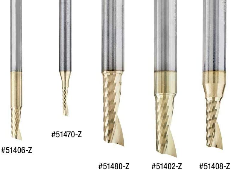 Amana Tool 51481-Z SC Spiral O Single Flute Aluminum Cutting 1//4 D x 1-1//4 CH x 1//4 SHK x 3 Inch Long Up-Cut ZrN Coated Router Bit withMirror Finish