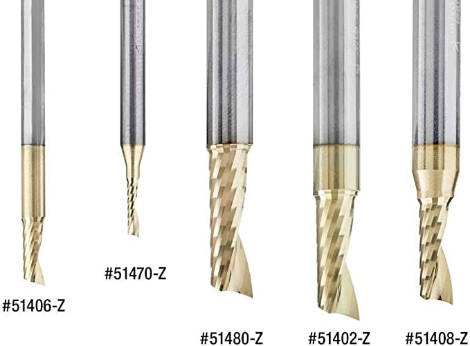 ZrN Coated Aluminum Cutting 1//4 D x 3//8 CH x 1//4 SHK x 2 Inch Long Up-Cut Router Bit withMirror Finish Amana Tool 51479-Z SC Spiral O Single Flute