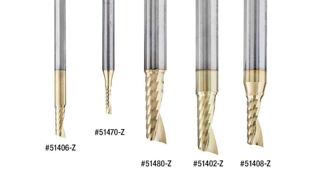 Amana Tool 51402-Z SC Spiral O Single Flute Aluminum Cutting 1//4 D x 5//8 CH x 1//4 SHK x 2 Inch Long Up-Cut ZrN Coated Router Bit withMirror Finish