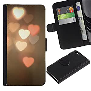 WonderWall Fondo De Pantalla Imagen Diseño Cuero Voltear Ranura Tarjeta Funda Carcasa Cover Skin Case Tapa Para Apple Iphone 5 / 5S - luces borrosa de color rosa del corazón de la noche blanca